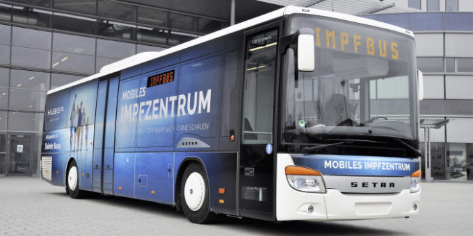 Setra LE business wird mobiles Impfzentrum